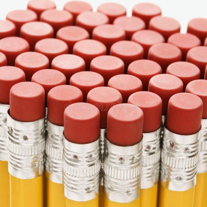 Groupe de gommes à effacer de crayon. images libres de droits