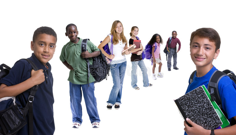 Groupe De Gosses D école Photo libre de droits