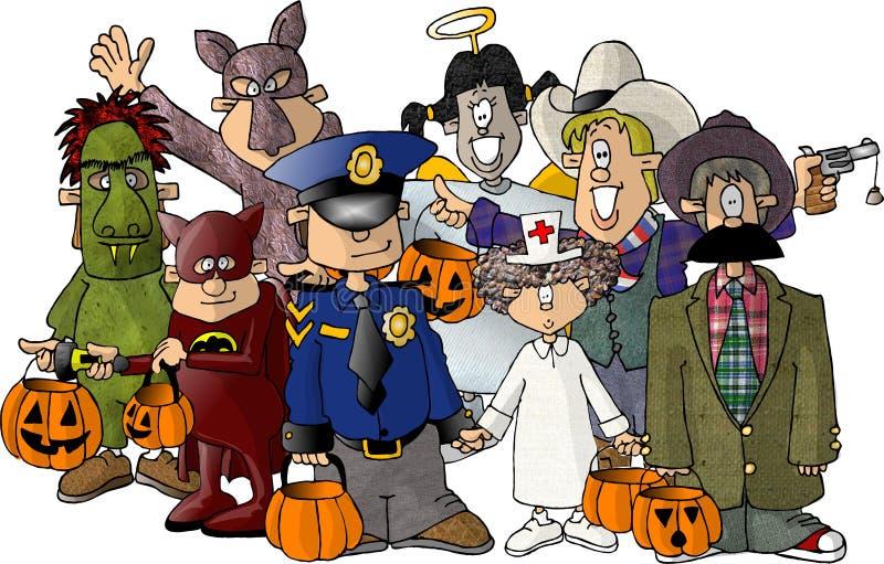 Groupe de gosses dans des leurs costumes de Veille de la toussaint illustration de vecteur