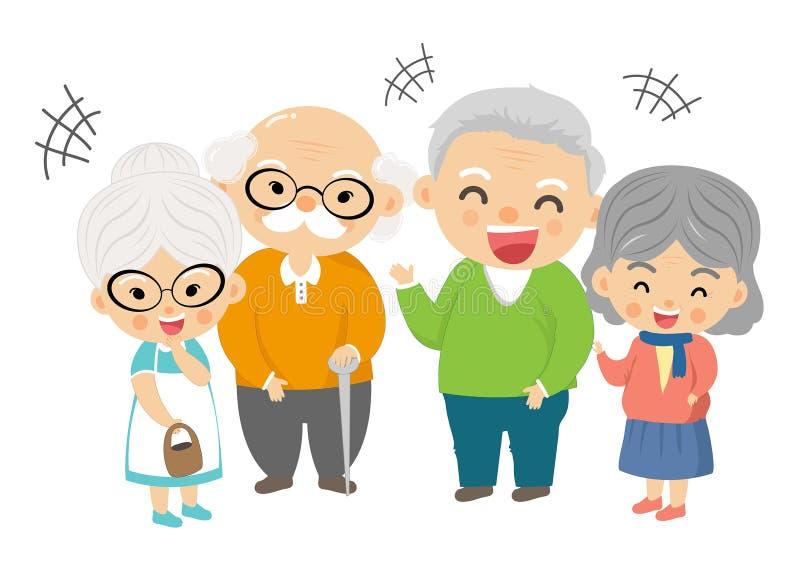 Groupe de grand-parent heureux dans le beau jour illustration libre de droits