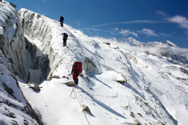 Groupe de grimpeurs sur la corde sur le glacier photographie stock