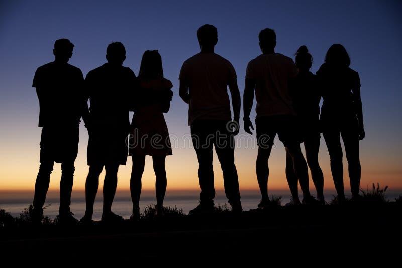 Groupe de jeunes adultes admirant le coucher du soleil par la mer photo libre de droits