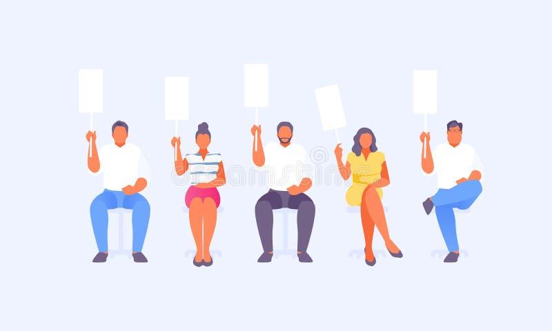 Groupe de juges avec des cartes d'évaluation illustration de vecteur