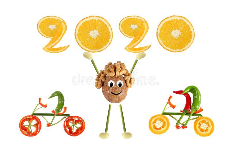 Groupe de légumes amusants Amusant petit noyer se lève en 2020 photos libres de droits