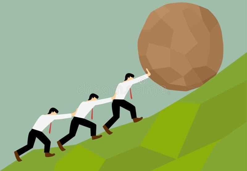 Groupe de l'essai de l'homme pour déplacer la boule en pierre au dessus de la colline illustration stock