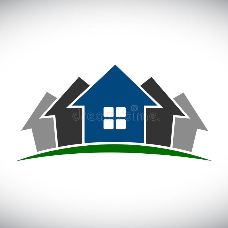 Groupe de la maison cinq - vecteur illustration stock