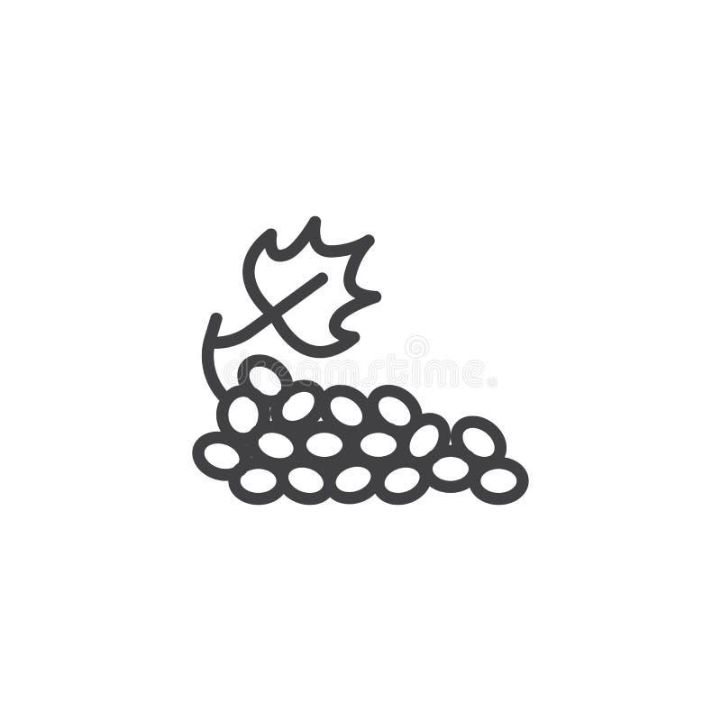 Groupe de ligne icône de raisins illustration stock