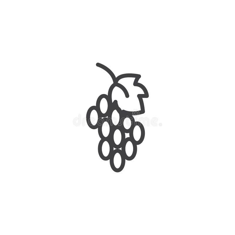Groupe de ligne ic?ne de raisins illustration de vecteur