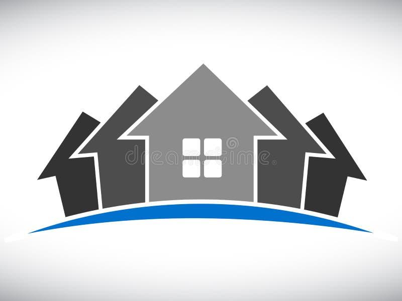Groupe de logo de cinq maisons - vecteur illustration libre de droits