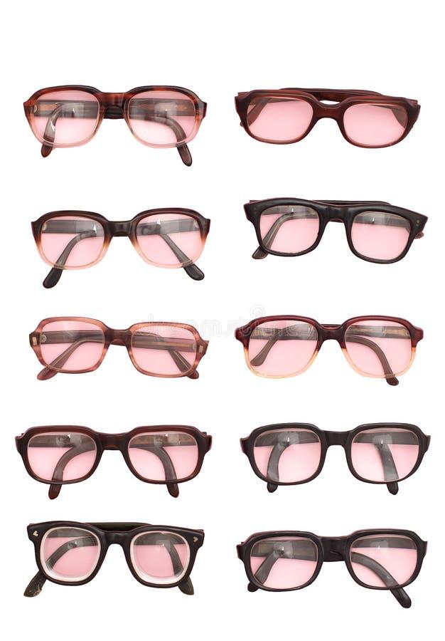 Groupe de lunettes de cru d'isolement sur le fond blanc images libres de droits