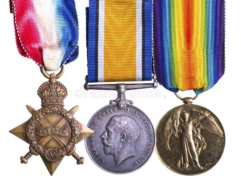 Groupe de médaille de Première Guerre Mondiale connu sous le nom de Pip Squeak et Wilfred image libre de droits