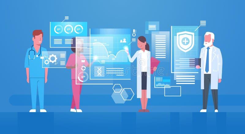 Groupe de médecins employant le concept moderne de technologie de médecine d'écran de Digital illustration stock