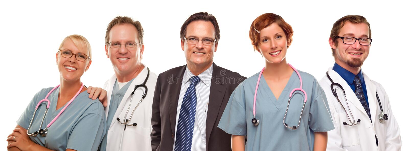 Groupe de médecins ou infirmières et homme d'affaires sur le blanc photos libres de droits