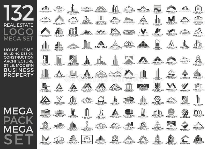 Groupe de méga, Real Estate, bâtiment et construction réglés et grands Logo Vector Design illustration stock