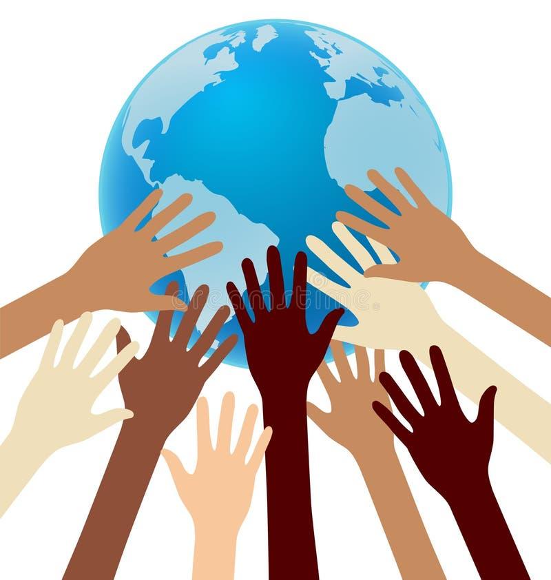 Groupe de main de diversité atteignant pour la terre, globe, unité illustration de vecteur