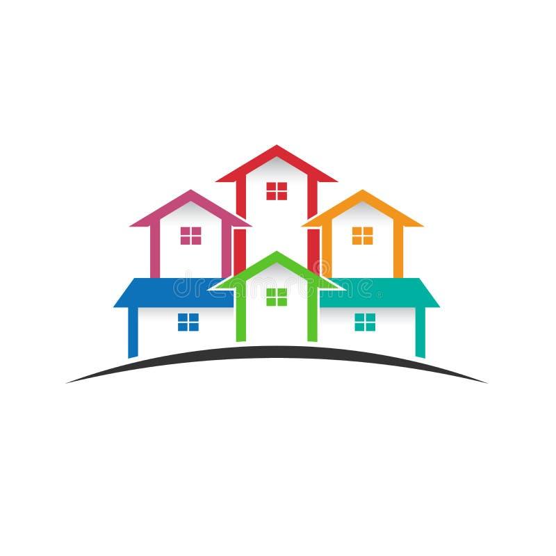 Groupe de maisons dans l'horizon illustration de vecteur