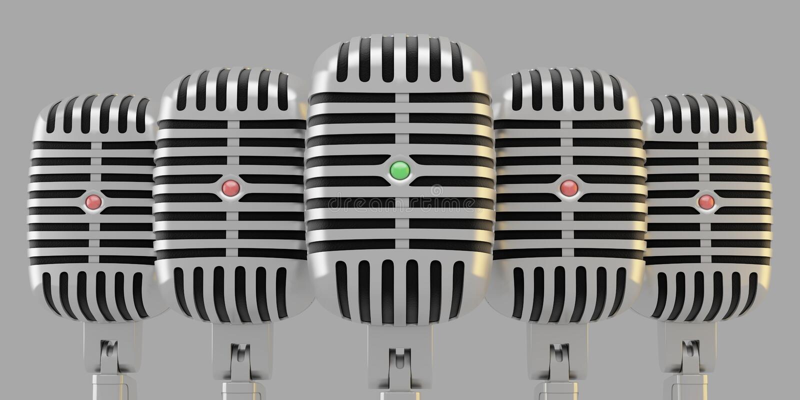 Groupe de microphones illustration stock