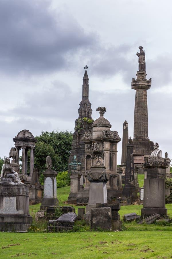 Groupe de monuments commémoratifs chez Glasgow Necropolis, Ecosse R-U photos stock