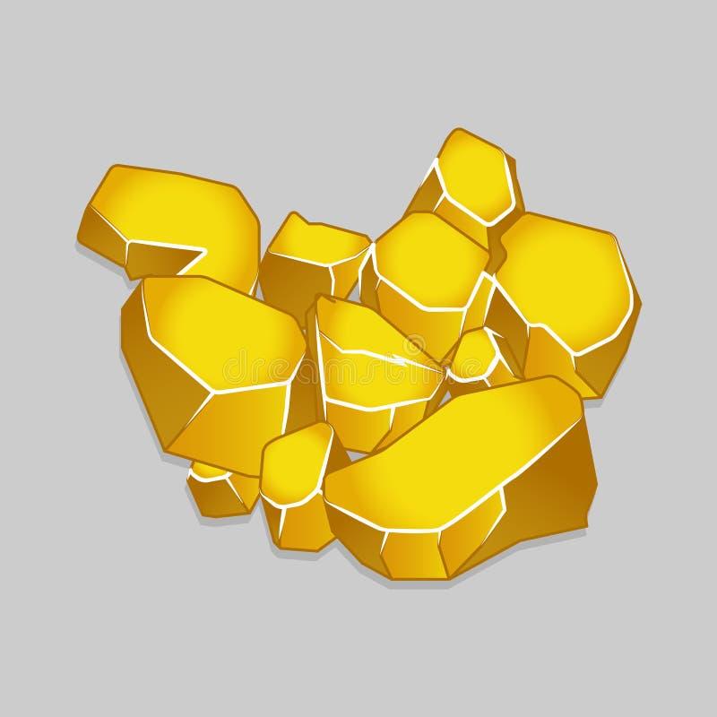 Groupe de pépite d'or d'isolement illustration libre de droits