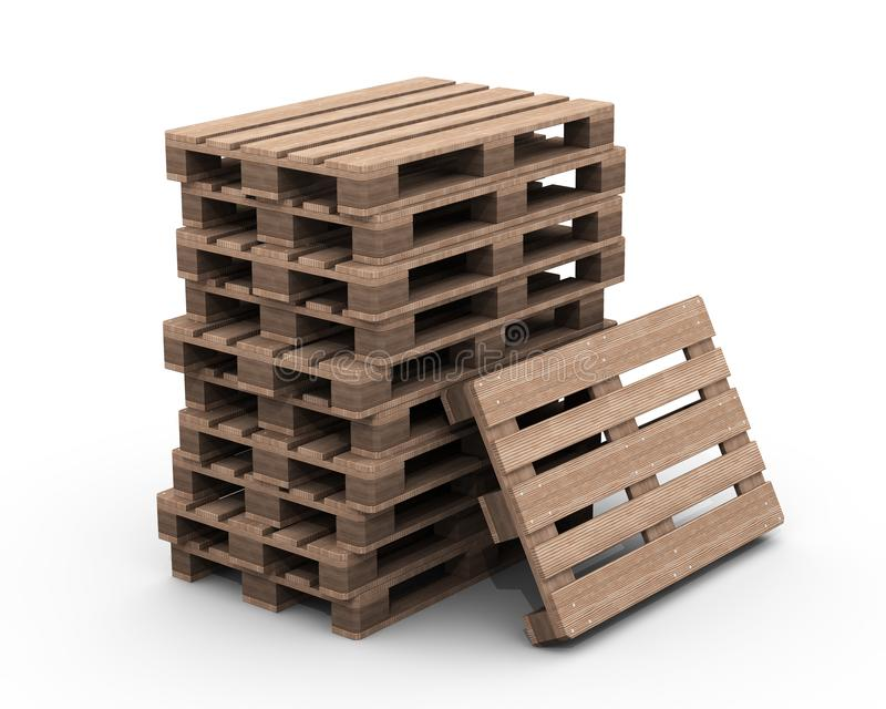 Groupe de palettes en bois illustration stock