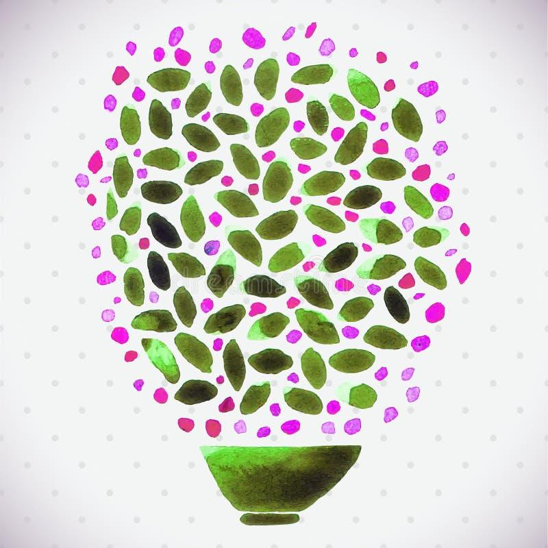 Groupe de peinture d'aquarelle de petites fleurs roses dans un vase vert illustration de vecteur