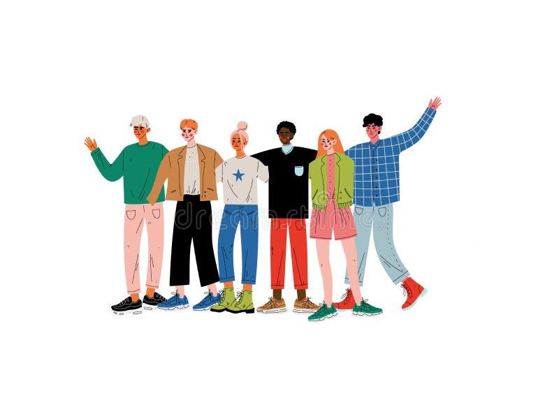 Groupe de personnes étreindre, jeunes hommes et femmes de différentes nationalités se tenant ensemble célébrantes le vecteur d'év illustration stock
