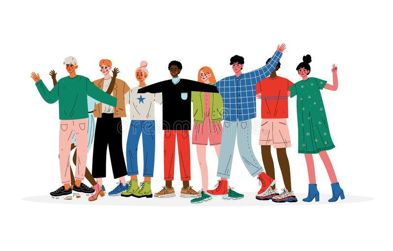 Groupe de personnes étreindre, mâle et amis féminins de différentes nationalités se tenant ensemble célébrantes le vecteur d'évén illustration stock