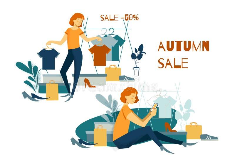 Groupe de personnes Achats achats En ligne shoping illustration stock