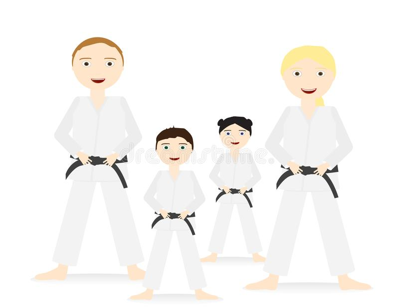 Groupe de personnes adultes et enfants avec la position d'uniformes de judo et de ceinture noire illustration de vecteur