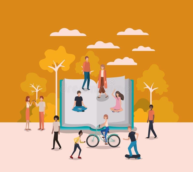 Groupe de personnes avec des caractères d'avatars de livre illustration de vecteur