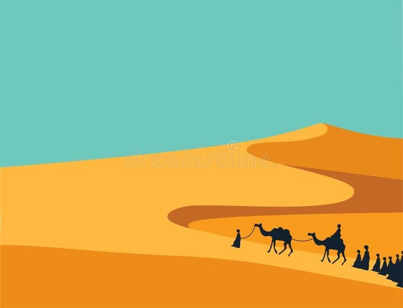 Groupe de personnes avec l'équitation de caravane de chameaux en sables larges réalistes de désert dans l'illustration Editable d illustration stock