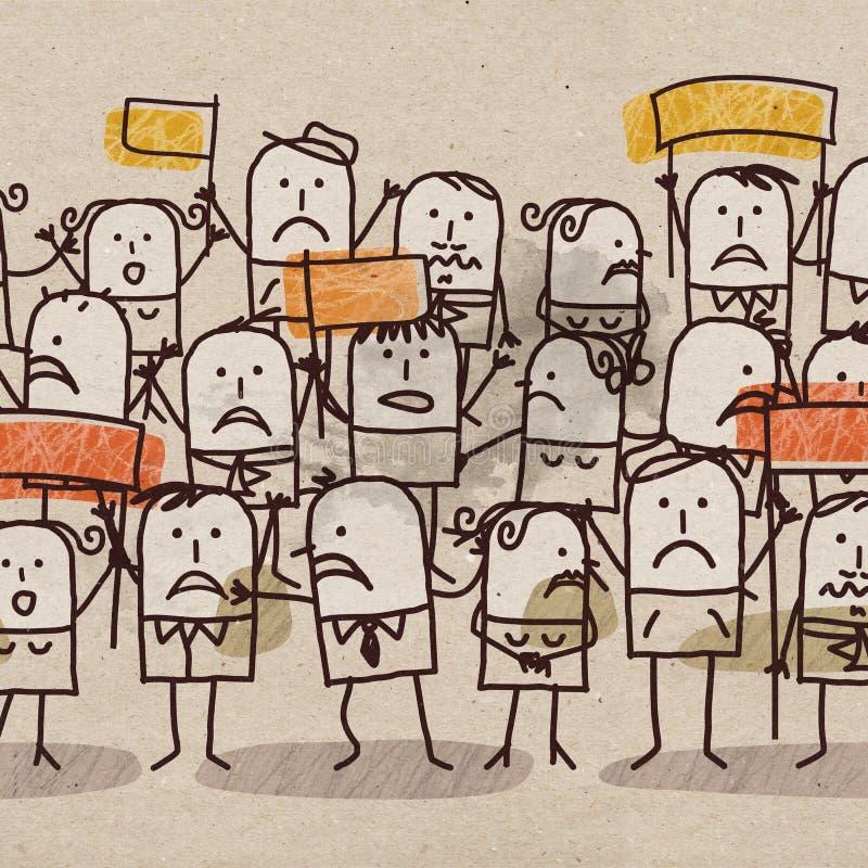 Groupe de personnes de bande dessinée malheureux illustration libre de droits