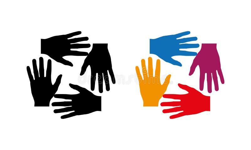 Groupe de personnes de beaucoup de mains ensemble mains de jointure illustration de vecteur