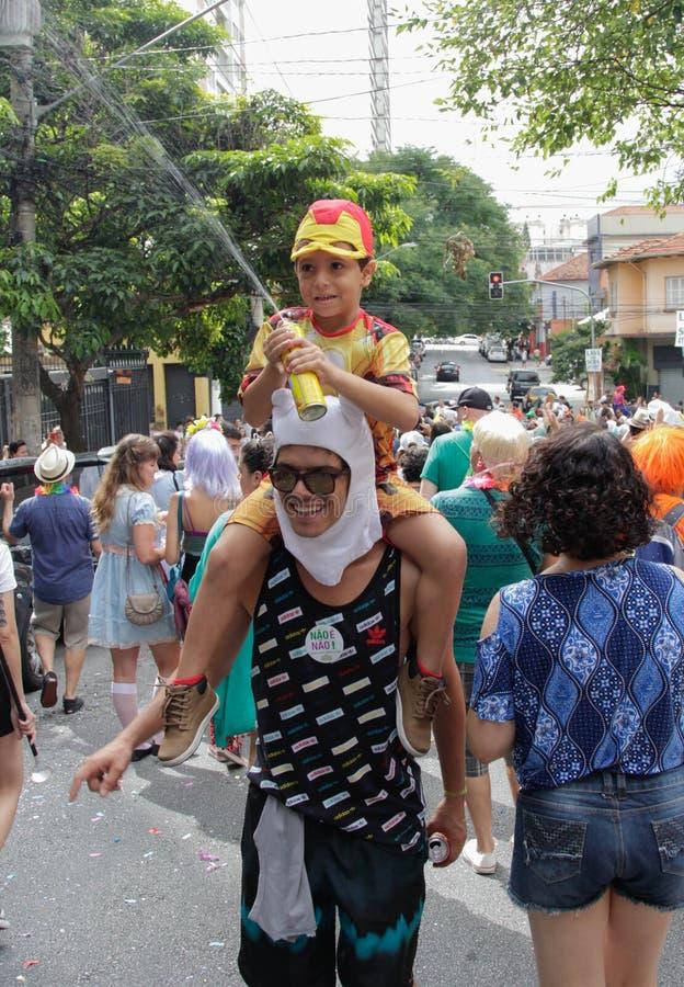 Groupe de personnes célébrant le carnaval brésilien images stock