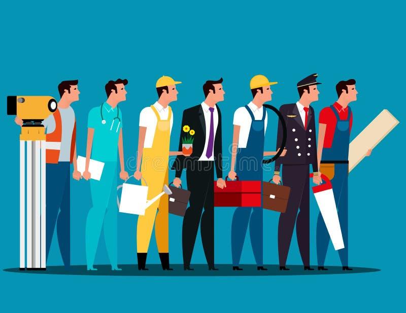 Groupe de personnes caractères de carrière Fête du travail Cha de carrière de concept illustration libre de droits
