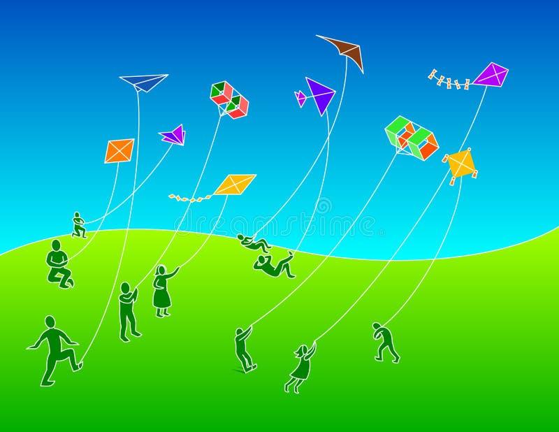 Groupe de personnes cerfs-volants de vol photo libre de droits