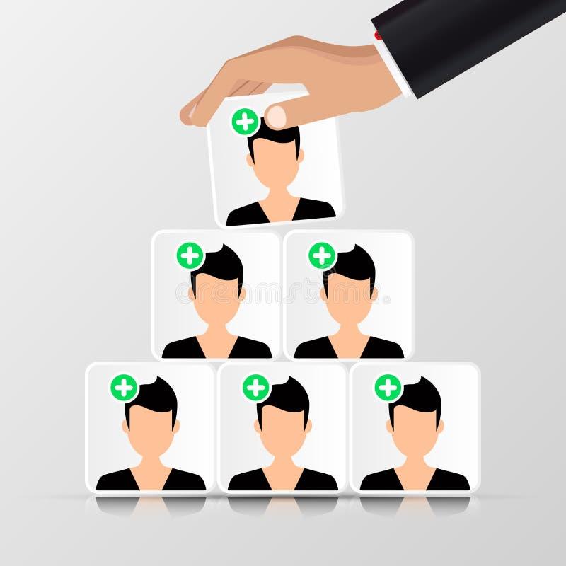 Groupe de personnes Concept d'affaires pyramide organisation illustration de vecteur