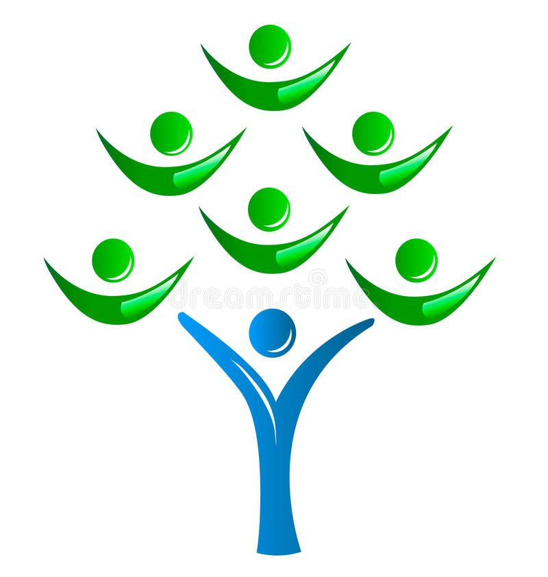 Groupe de personnes d'arbre le logo illustration stock