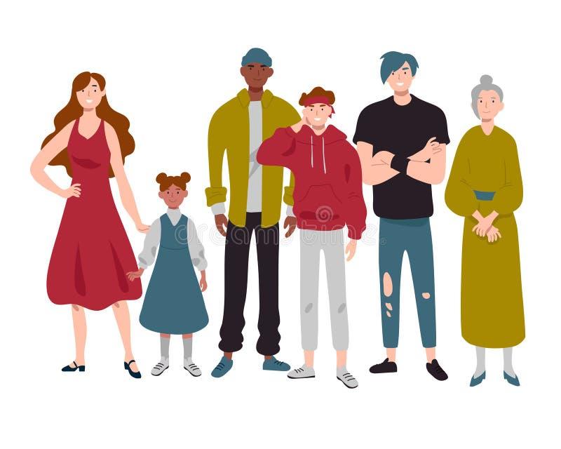 Groupe de personnes d'enfance différent d'âges, jeunesse, moyen et vieux illustration de vecteur