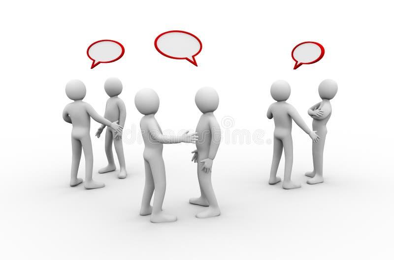 groupe de personnes 3d se réunir et discussion illustration stock