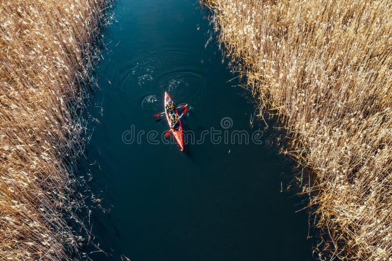 Groupe de personnes dans des kayaks parmi des roseaux sur la rivi?re d'automne image libre de droits