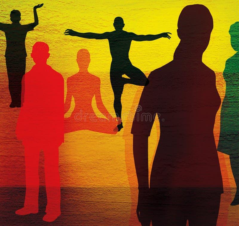 Groupe de personnes dans des poses ordinaires et des poses de yoga Sur un fond texturisé multicolore illustration de vecteur