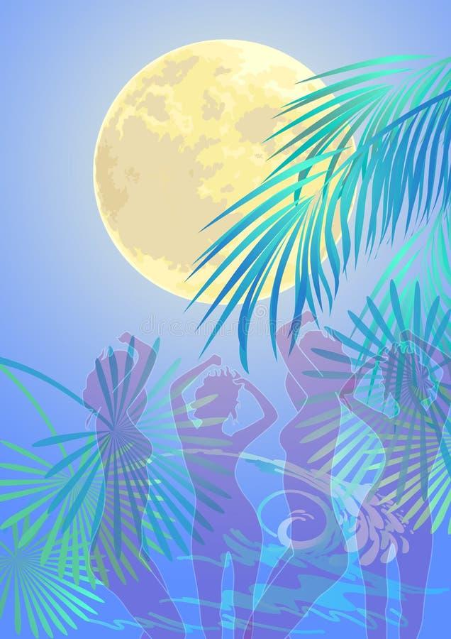 Groupe de personnes dansant dans une nuit d'été illustration libre de droits
