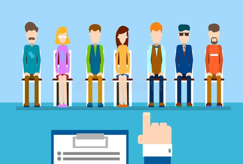 Groupe de personnes de candidat d'affaires de doigt de point de main de résumé de prise de recrutement illustration libre de droits