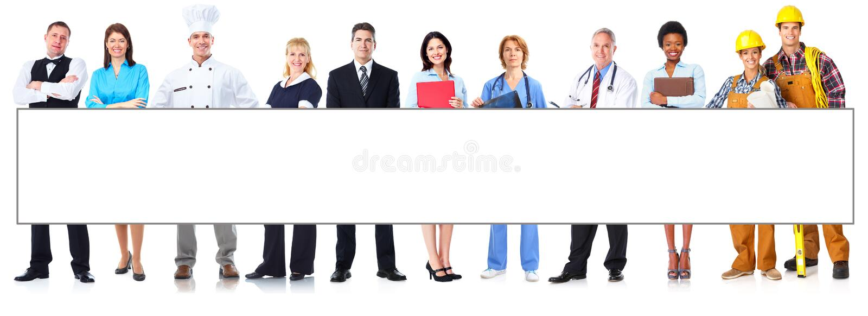 Groupe de personnes de travailleurs avec la bannière image stock