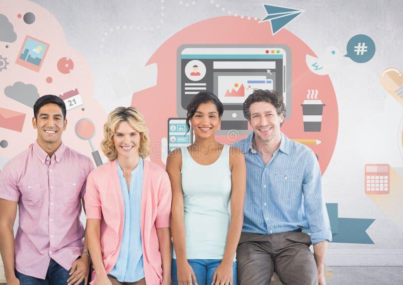 Groupe de personnes devant des graphiques de local commercial illustration de vecteur