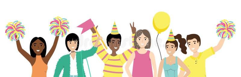 Groupe de personnes heureuses avec les mains de ondulation d'isolement sur le fond blanc Hommes heureux et femmes positifs célébr illustration libre de droits