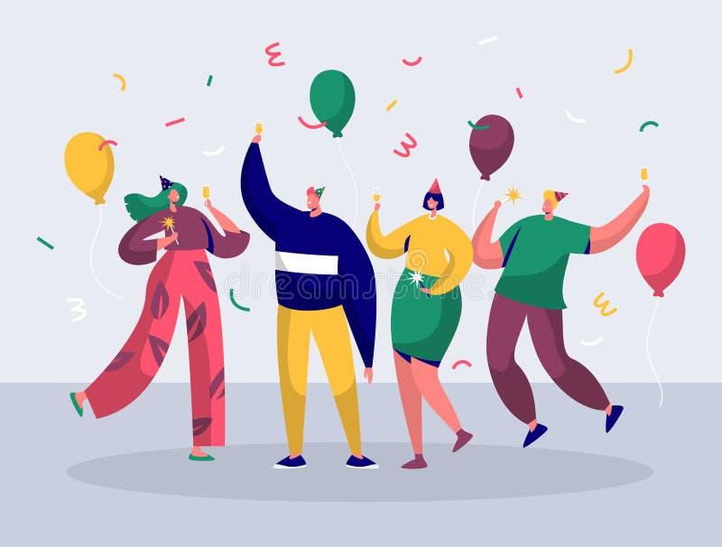 Groupe de personnes joyeuses célébrant la partie de nouvelle année illustration libre de droits