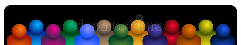 Groupe de personnes l'équipe sur le noir illustration libre de droits
