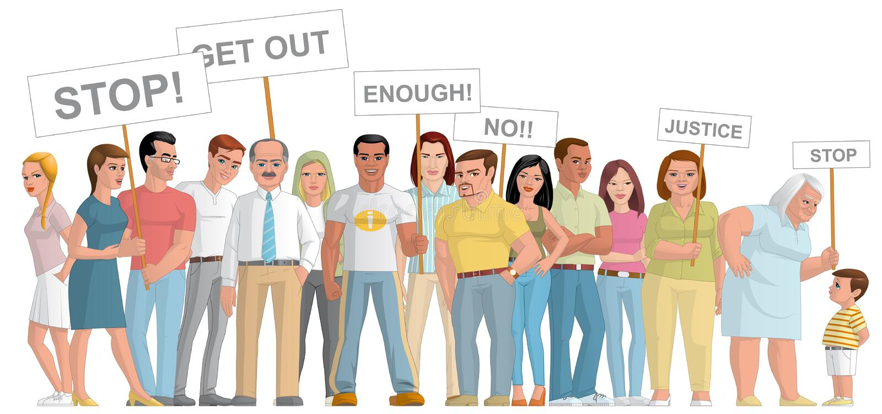 Groupe de personnes manifestation illustration de vecteur